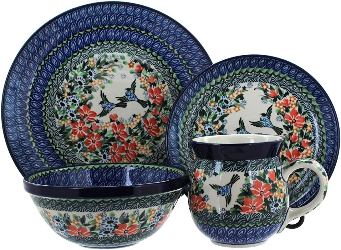 Blue Rose Polish Pottery Maria 4 Piece Place Setting Service For 1