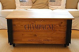 Uncle Joe´s Couchtisch XL Champagne Truhentisch Truhe im Vintage Shabby chic Style aus Massiv-Holz in braun mit Stauraum und Deckel Holzkiste Beistelltisch Landhaus Wohnzimmertisch Holztisch nussbaum