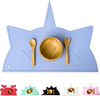Silicone Placemat for Kids, Babies and Toddlers   Non-Slip Mats, Chemical Free & Food Grade Baby Mat   Portable Placemats   Raised Edges Prevent Spills   BamBamBoom Unicorn-Cat (Slate)