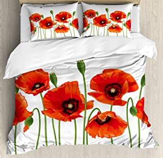 Ambesonne Floral Duvet Cover Set, Poppies of Spring Season Pastoral Flowers Botany Bouquet Field Nature Theme Art, Decorative 3 Piece Bedding Set with 2 Pillow Shams, King Size, Red Green