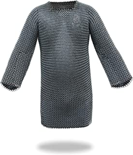 Medieval Chainmail Shirt w/Full Sleeves Solid Iron Haubergeon Armor - One Size Silver