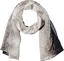 Ombre Border Leopard Scarf