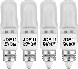 4-Pack JDE11 120V 100W Frosted Halogen JDE11 100W Bulb Warm White 100 Watt T4 E11 Bulb Frosted JD E11 T4 100W for Chandeliers, Pendants, Table Lamps, Cabinet Lighting, Mini-Candelabra Base T4 Bulb