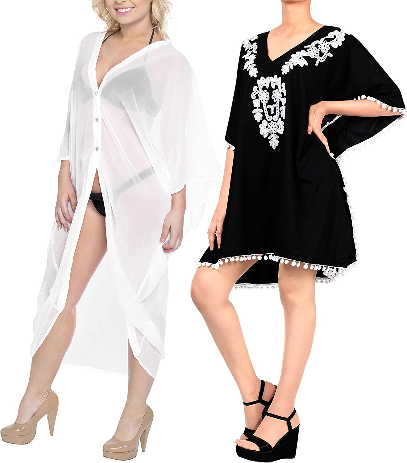 LA LEELA Women's Plus Size Kimono Cardigan Swim Cover Ups Cardigan Beach Cover up Casual Dress Work from Home Clothes Women Pack of 2