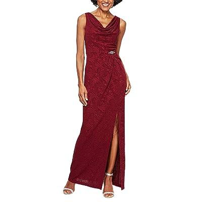 Alex Evenings Long Sleeveless Jacquard Knit Column Dress with Cowl Neckline (Wine) Women