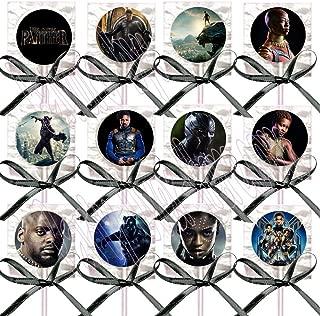 Black Panther Movie Lollipops Party Favors Supplies Decorations Lollipops with Black Ribbon Bows Party Favors -12 pcs