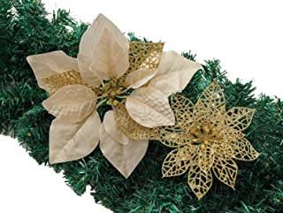 vannyster Christmas Poinsettia Ornament, Glitter Christmas Tree Decoration, Artificial Poinsettia Flower Xmas Holiday Home Decor, Pack of 24, Gold