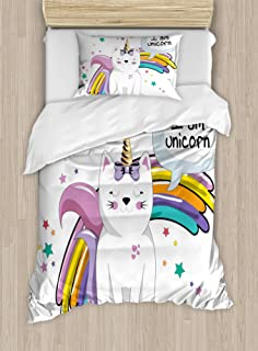 Ambesonne Unicorn Cat Duvet Cover Set, Fairy Animal with Ice Cream Cone Bow Stars and Rainbow Kids Imagination Fiction, Decorative 2 Piece Bedding Set with 1 Pillow Sham, Twin Size, Teal Yellow