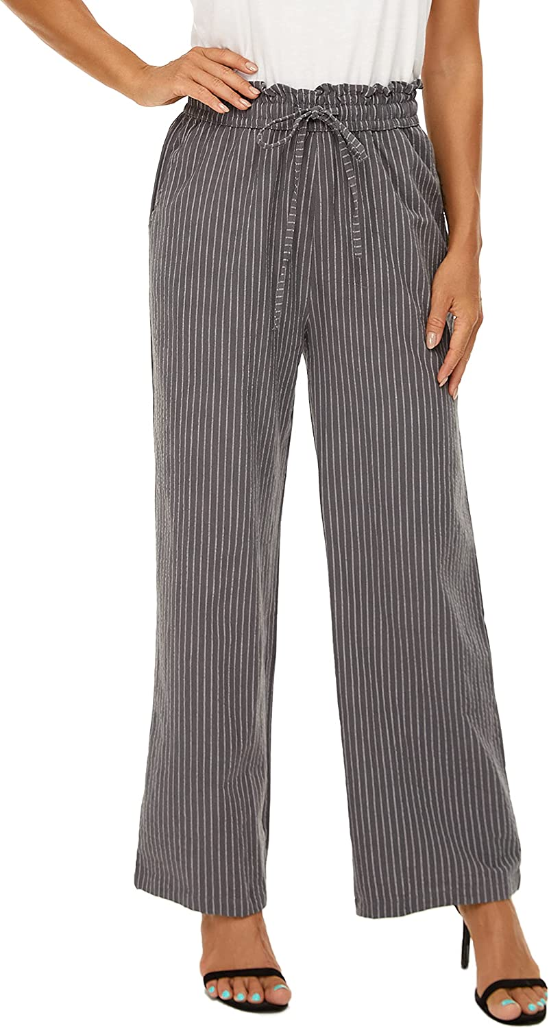 LNX Womens Striped Linen Long Pants High Waisted Wide Leg Drawstring Loose Casual Trousers with Pockets