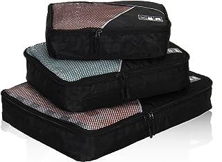 Hynes Eagle 3 Pieces Packing Cubes Set Travel Luggage Organizer Bag Black-2021