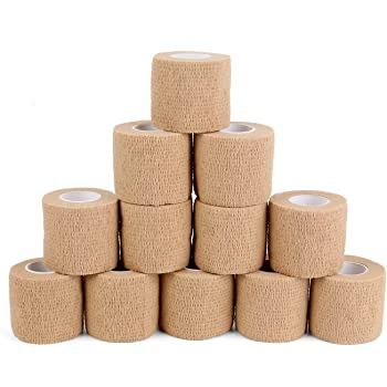 12 Bulk Pack Cohesive Tape, Self Adherent Wrap 2 Inches X 5 Yards - Self Adhesive Bandage Medical Vet Wrap for First Aid, Sports Protection and Wrist, Ankle Sprains & Swelling