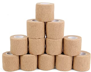 12 Bulk Pack Cohesive Tape, Self Adherent Wrap 2 Inches X 5 Yards - Self Adhesive Bandage Medical Vet Wrap for First Aid, ...