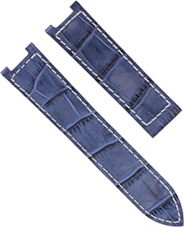 20MM LEATHER WATCH STRAP BAND CLASP FOR 38MM CARTIER PASHA 1032 1033 BLUE WS