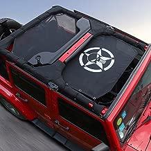Black Durable Sunshade Mesh Top Cover Provides UV Sun Shade Protection for 2007-2017 Jeep Wrangler JKU 4 Door Skull