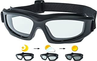 """Motorcycle Riding Goggles: Heavy-Duty Riding Goggles""""No Foam"""" Design w/Hard Case, Microfiber Cleaning Cloth & Pouch Includ..."""