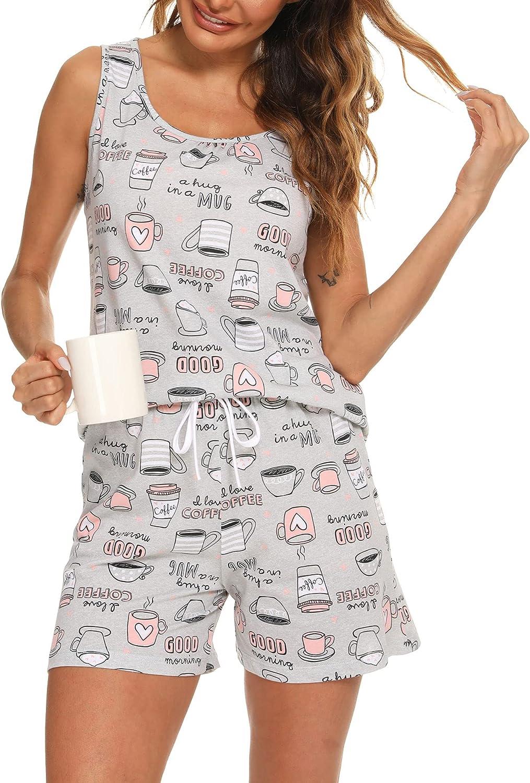 ENJOYNIGHT Women's Cute Sleeveless Direct store Print Ranking TOP11 Tee and Sleepwea Shorts