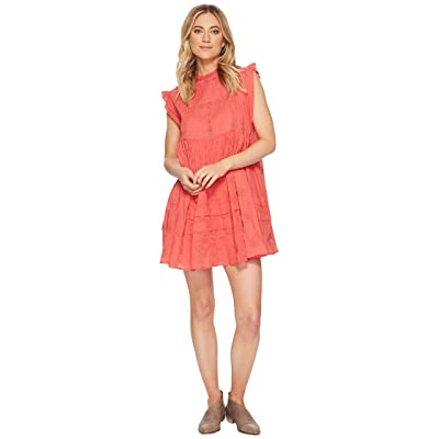 Free People Nobody Like You Embroidered Mini Dress (Coral) Women