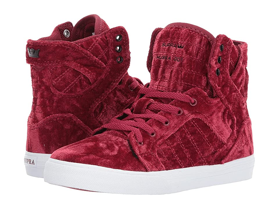 Supra Kids Skytop (Little Kid/Big Kid) (Dark Ruby/White) Kids Shoes