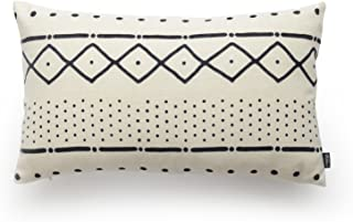 Hofdeco African Mudcloth Cushion Cover ONLY, Premium Cotton Linen, Natural White Dots Dashes, 30cmx50cm