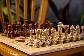 Coral Stone & Red Onyx Marble Staunton Chess Set- 16