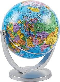 World Globe - جهان 4 اینچی جهان با پایه ، چرخش چرخش برای کودکان ، معلمان جغرافیا ، والدین به عنوان خانه ، دکوراسیون دسک تاپ دفتر ، ابزار آموزشی ، آبی کلاسیک ، 5 اینچ بلند