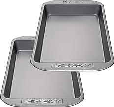 Farberware 47743 Nonstick Bakeware Baking Pan Set/Nonstick Cake Pan Set, Rectangle - 2 Piece, Gray