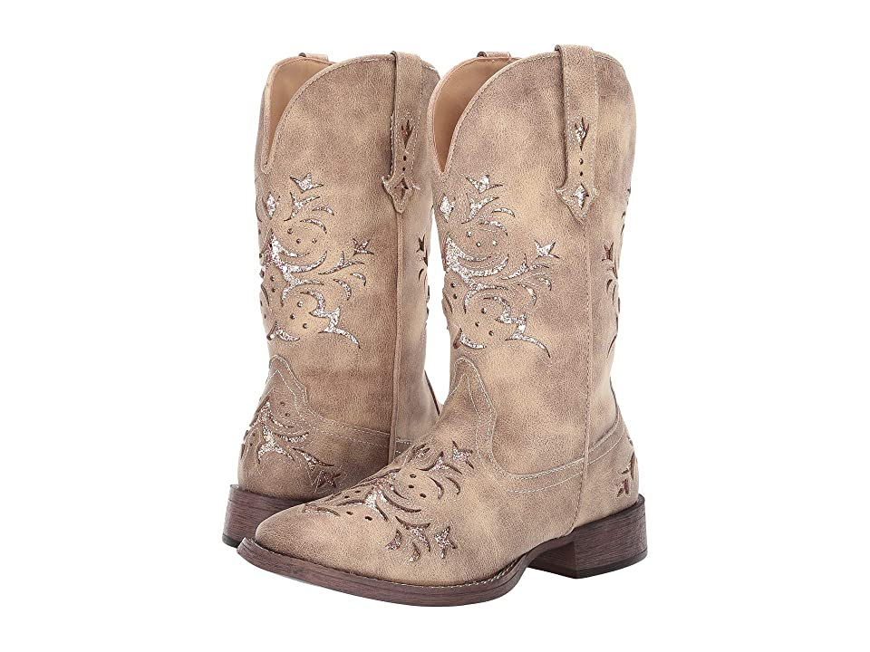 Roper Kennedy (Tan Faux Leather/Gold Underlay) Cowboy Boots