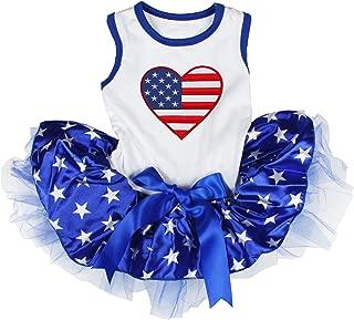 Petitebella USA Heart White Shirt Blue Stars Tutu Puppy Dog Dress