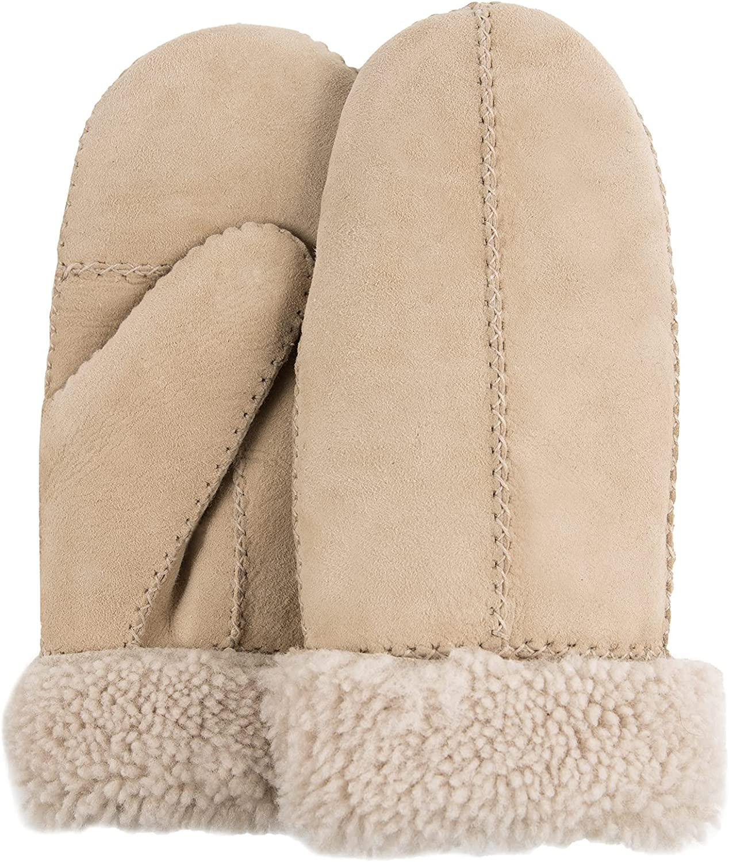Surblue Women's Winter Lambskin Leather Fur Mittens Premium Shearling Lambswool