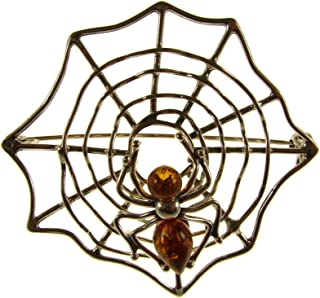 amber spider brooch