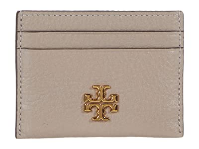 Tory Burch Kira Pebbled Card Case (Gray Heron) Handbags