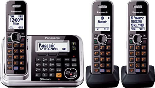 Panasonic DECT Digital Cordless Phone with Link-to-Cell System, Key Finder & Triple-Pack Handsets, Black (KX-TG7893AZS)