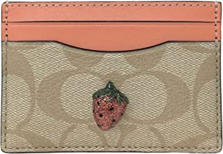 Coach Card Case In Signature Canvas With Strawberry Fruit Light Khaki Coral F73079