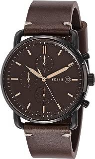 Men's The Commuter Quartz Chronograph Leather Watch, Color: Silver, Brown, 22 (Model: FS5403)