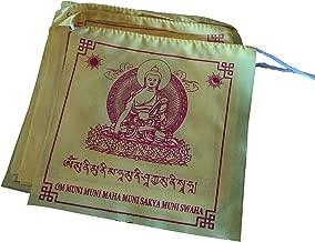 Large Handmade Tibetan Solid Yellow Color Buddha Shakyamuni Buddha Prayer Flags