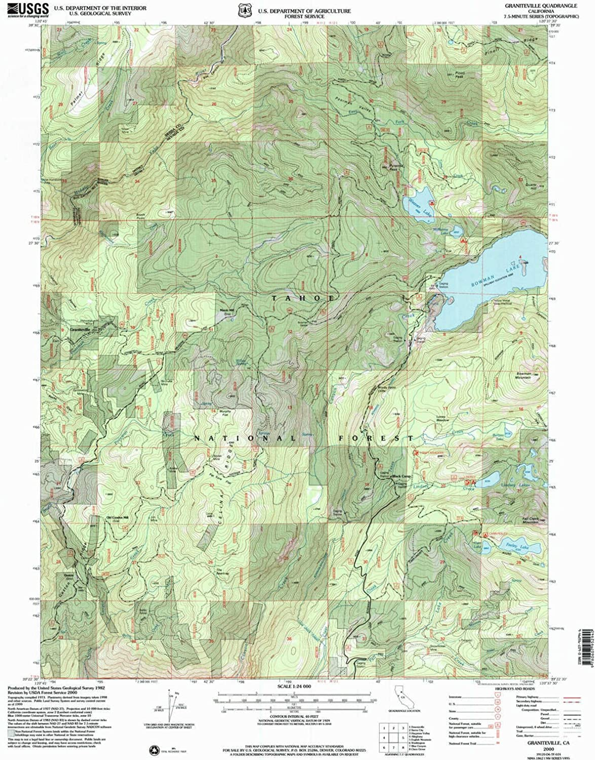 Graniteville CA topo map, 1 24000 Scale, 7.5 X 7.5 Minute, Historical, 2000, Updated 2003, 26.6 x 21.4 in