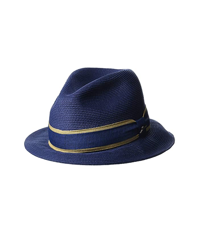 Tommy Bahama Fine Braid Toyo Fedora (Navy) Caps