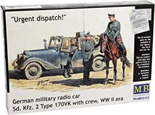 Master Box WWII SDKFZ 2 Type 170VK German Radio Car (with 4 Figs and Horse) Figure Model Building Kits (1:35 Scale)