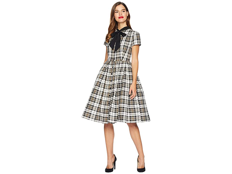 Unique Vintage 1950s Style Button Up Swing Dress (Grey Plaid) Women
