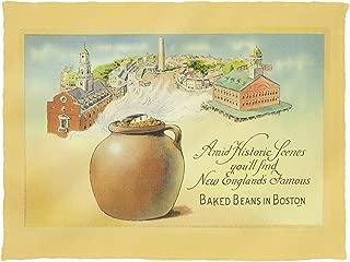 Lantern Press Boston, Massachusetts - Historic Scenes and Baked Beans 15297 (60x80 Poly Fleece Thick Plush Blanket)