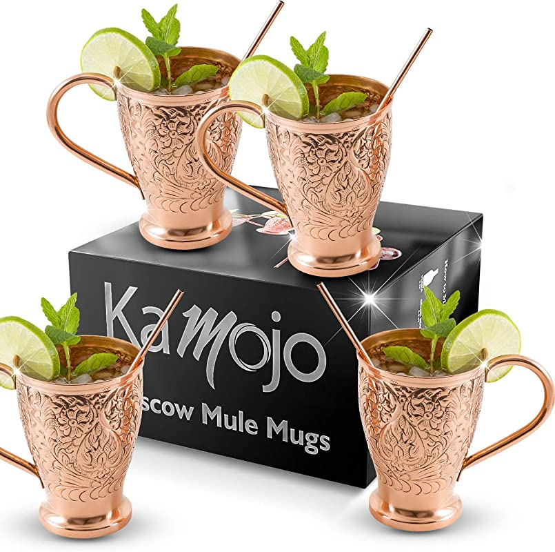 Moscow Mule Pure Copper Mugs Stunning Embossed Gift Set Of 4 Copper Cups Bonus Copper Straws For Cocktails Russian Mules Kamojo Exclusive Gift Set Of 4