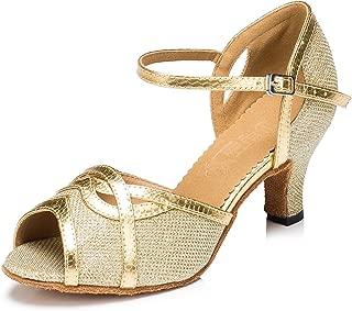 URVIP Women's Glitter Leather Heels Pumps Modern Latin Tango Shoes Cross Ankle Strap Buckle Dance Shoes LD059