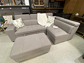 Balboa Living Room Lounge Corner Bed L-Shape Sofa with Cup Holder Futon Sofa Bed Furniture Grey Color Living Room Sofa Set...