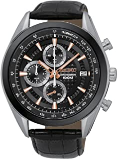 Seiko Mens Quartz Watch, Analog Display and Leather Strap SSB183P1