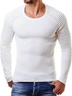 Men's Cable Knit Sweater Stripe Crew Neck Long Sleeve Pullover