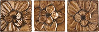 Magnolia 3 pc Wall Panel Set - Gold Floral Motif - Hand Painted Glam Style