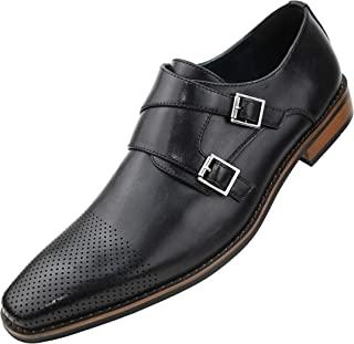 Mens Double Monk Strap Dress Shoe with Perforated & Burnished Toe