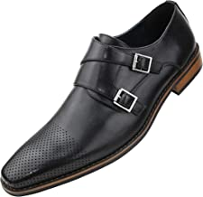Amali Mens Double Monk Strap Dress Shoe with Perforated & Burnished Toe