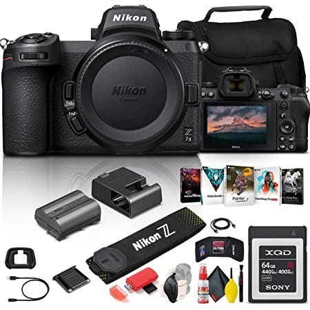 Nikon Z 7II Mirrorless Digital Camera 45.7MP (Body Only) (1653) + 64GB XQD Card + Corel Photo Software + Case + HDMI Cable + Cleaning Set + Hand Strap + More - International Model (Renewed)