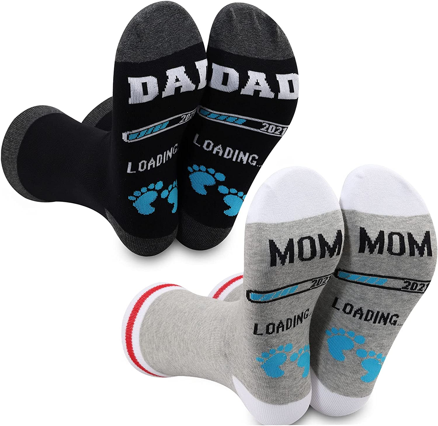 LEVLO 2 Pairs Dad Mom Pregnancy Announcement Socks First Time New Mom Dad to be Gift Mom Dad 2021 Loading Novelty Socks
